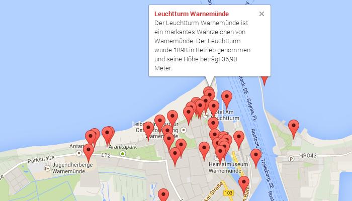 Google Maps als Stadtplan von Warnemünde